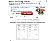 Animals Word Chop Worksheet Worksheet