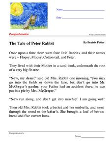 The Tale of Peter Rabbit Worksheet