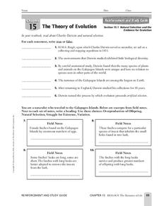 the theory of evolution worksheet for 7th 12th grade lesson planet. Black Bedroom Furniture Sets. Home Design Ideas