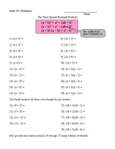 The Three Special Binomial Products Worksheet