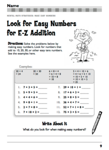 Look for Easy Numbers for E-Z Addition Worksheet