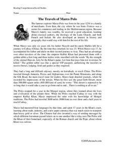 The Travels of Marco Polo Worksheet