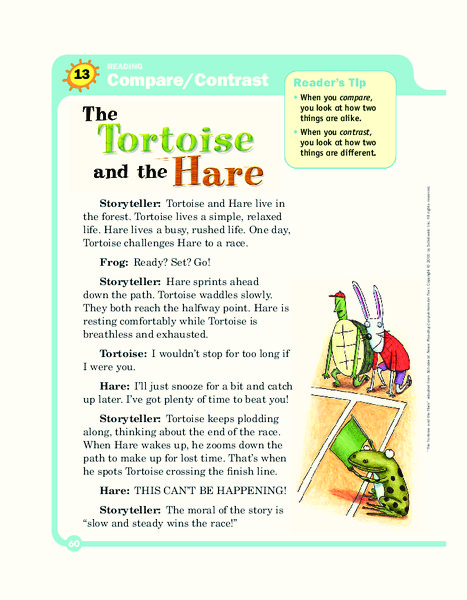 the tortoise and the hare graphic organizer for 4th
