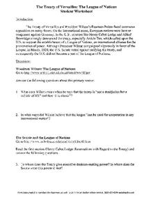 the treaty of versailles the league of nations student worksheet worksheet for 8th 12th grade. Black Bedroom Furniture Sets. Home Design Ideas