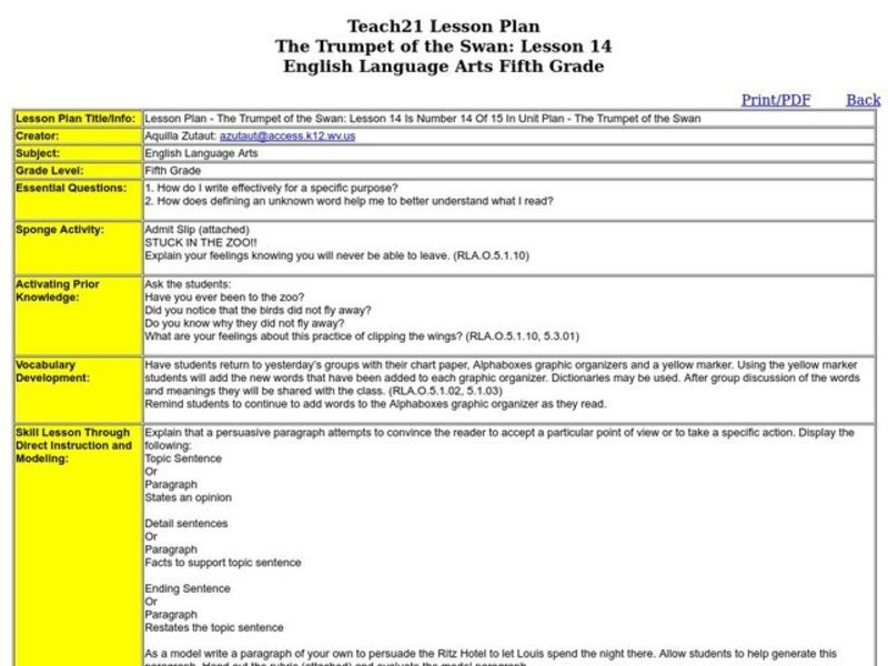 The Trumpet of the Swan Lesson Plan for 4th - 6th Grade