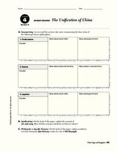 The Unification of China Worksheet