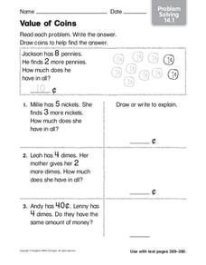 The Value of Coins Worksheet