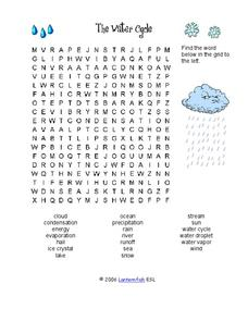 The Water Cycle Word Search Worksheet for 3rd - 5th Grade ...