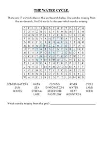 The Water Cycle Word Search 3rd - 4th Grade Lesson Plan | Lesson ...