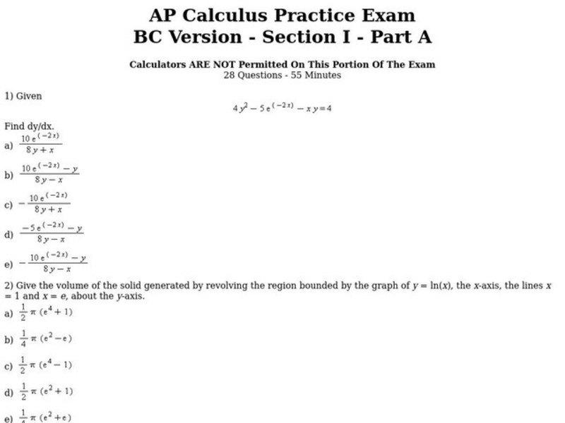 AP Calculus Practice Exam Worksheet for 11th - 12th Grade ...