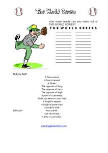 The World Series Worksheet