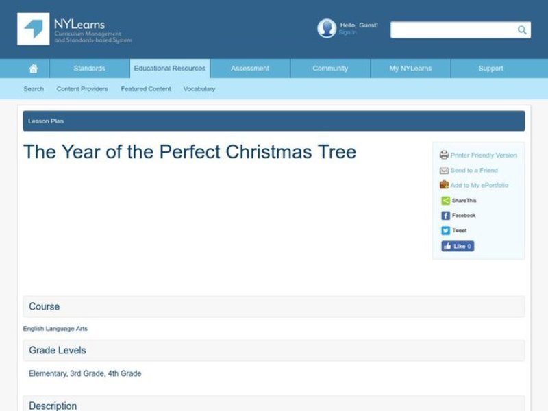 The Year of the Perfect Christmas Tree Lesson Plan