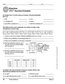 Theoretical Probability Worksheet