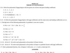Theory of Polynomials Worksheet