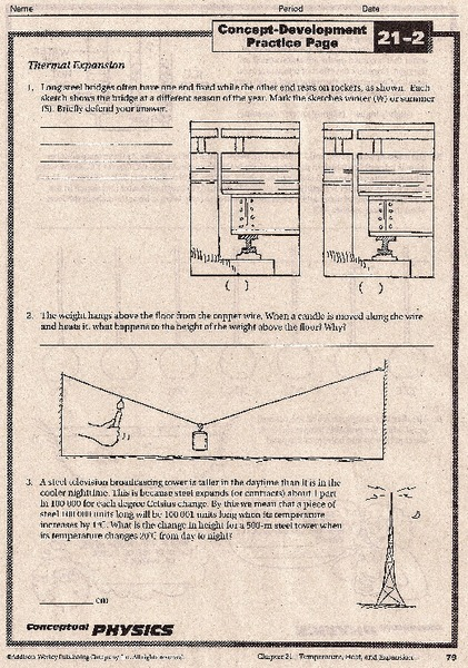 Thermal Expansion Worksheet For 9th 12th Grade Lesson Planet