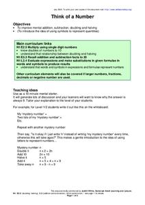 Think of a Number Worksheet