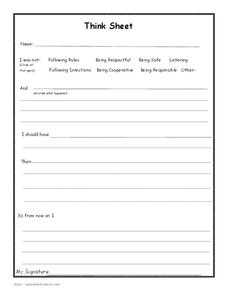Think Sheet Worksheet