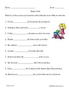 Think-a-Verb Worksheet