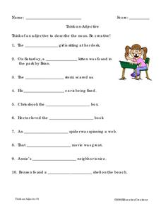 Think-an-Adjective Worksheet