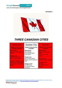 Three Canadian Cities Worksheet