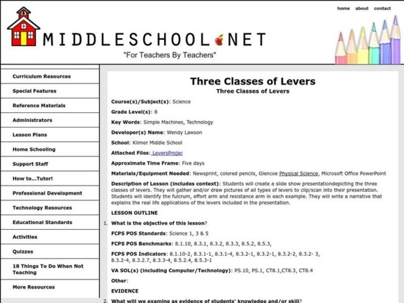 Three Classes of Levers Lesson Plan