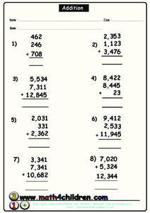 Three Addend Addition Worksheet