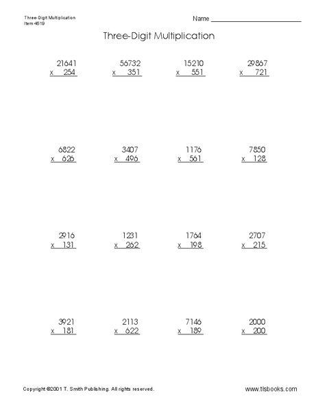 Three Digit Multiplication Worksheet