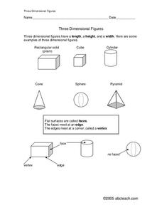 Three Dimensional Figures Worksheet