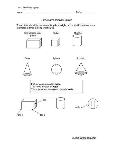 Three Dimensional Figures Worksheet For 3rd 5th Grade