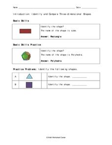 Three-dimensional Shapes Worksheet