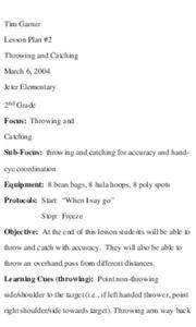 Throwing and Catching Lesson Plan