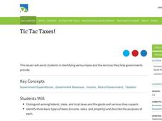 Tic Tac Taxes! Lesson Plan