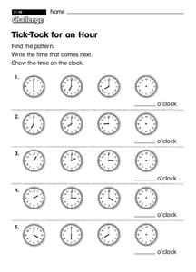 Tick-Tock for an Hour Worksheet