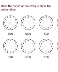 Time Activity: Draw Hands on a Clock Worksheet for 2nd