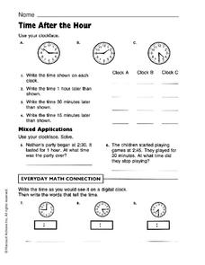 Time After the Hour Worksheet