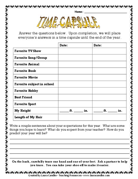 Time Capsule Printables & Template