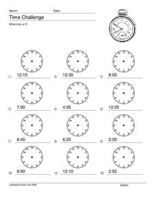 Time Challenge Worksheet