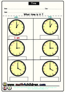 Time Activity Worksheet