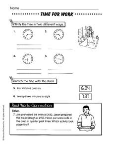 Time for Work Worksheet