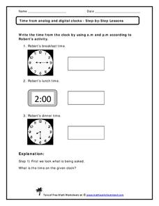 Time from Analog and Digital Clocks Worksheet