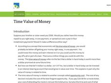 Time Value of Money Lesson Plan