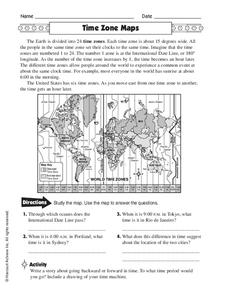 Time Zone Maps Worksheet