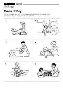 times of day worksheet for kindergarten 1st grade lesson planet. Black Bedroom Furniture Sets. Home Design Ideas