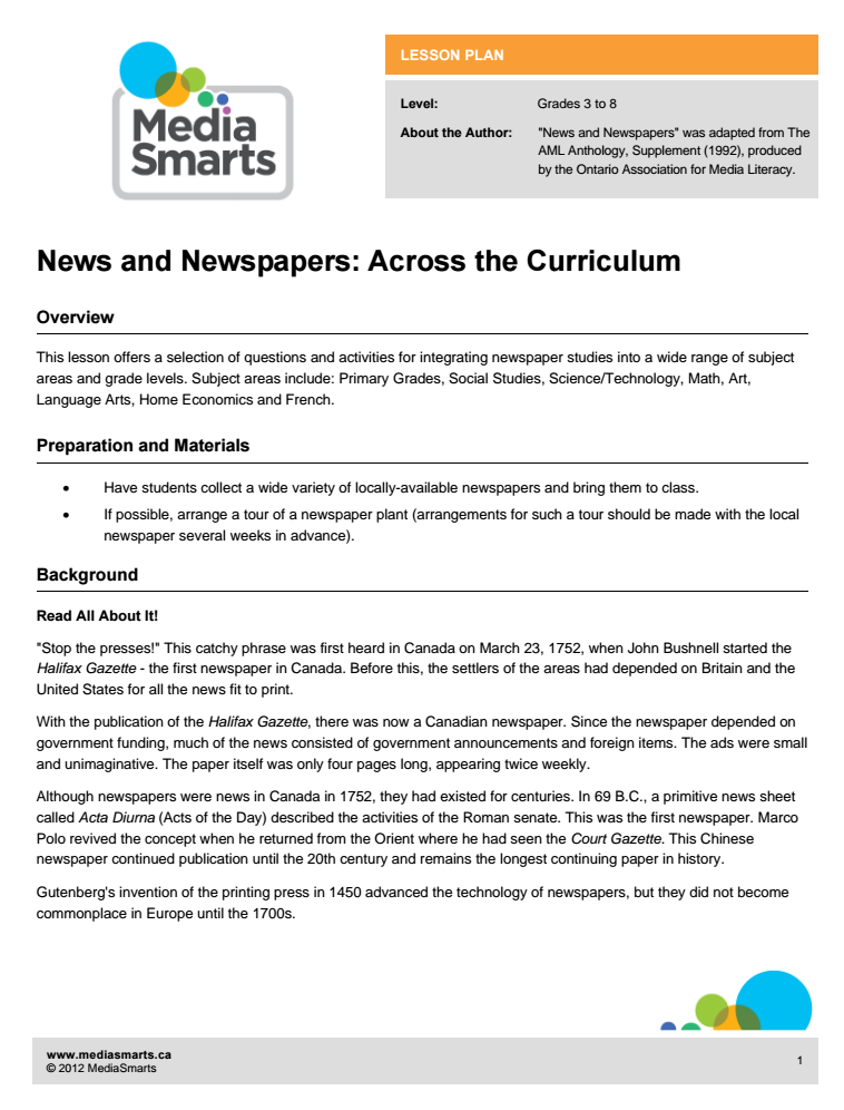 News and Newspapers: Across the Curriculum Lesson Plan