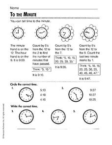 To the Minute Worksheet