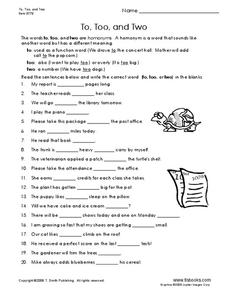 To, Too, and Two Worksheet
