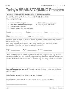 Today's Brainstorming Problems Worksheet