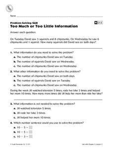 Too Much or Too Little Information Worksheet