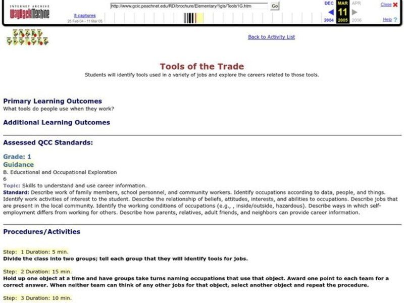 Tools of the Trade Lesson Plan