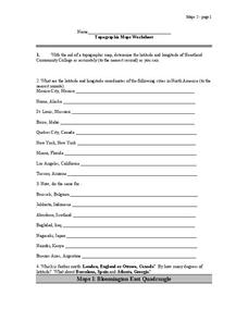 Topographic Maps Worksheet Lesson Plan